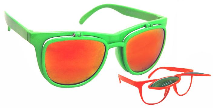 Ray-Ban Style Mirrored Revo Wayfarer Flip Up Sunglasses